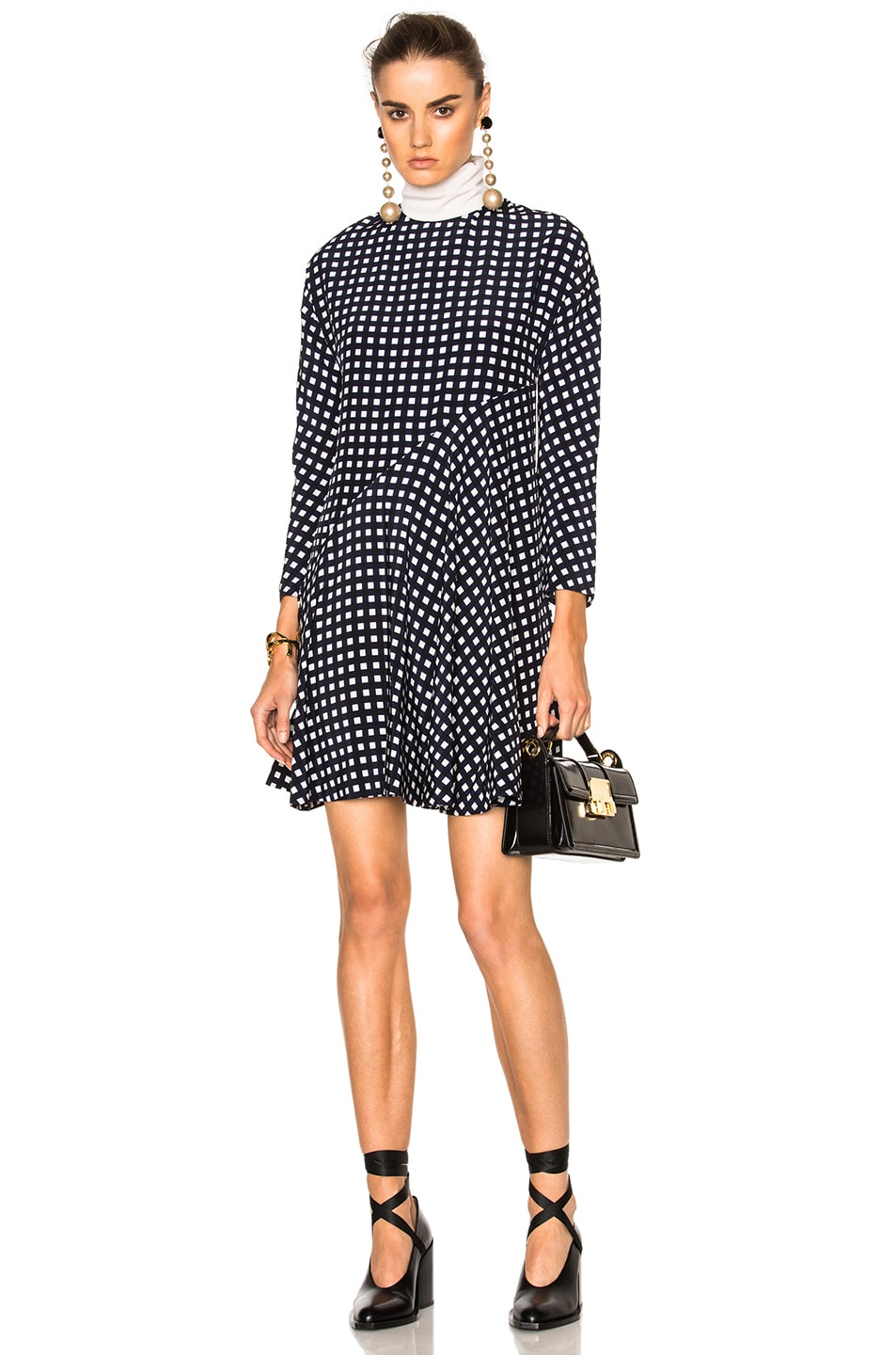 Image 1 of Marni Crepe Silk Squares Long Sleeve Dress in Black & Blue