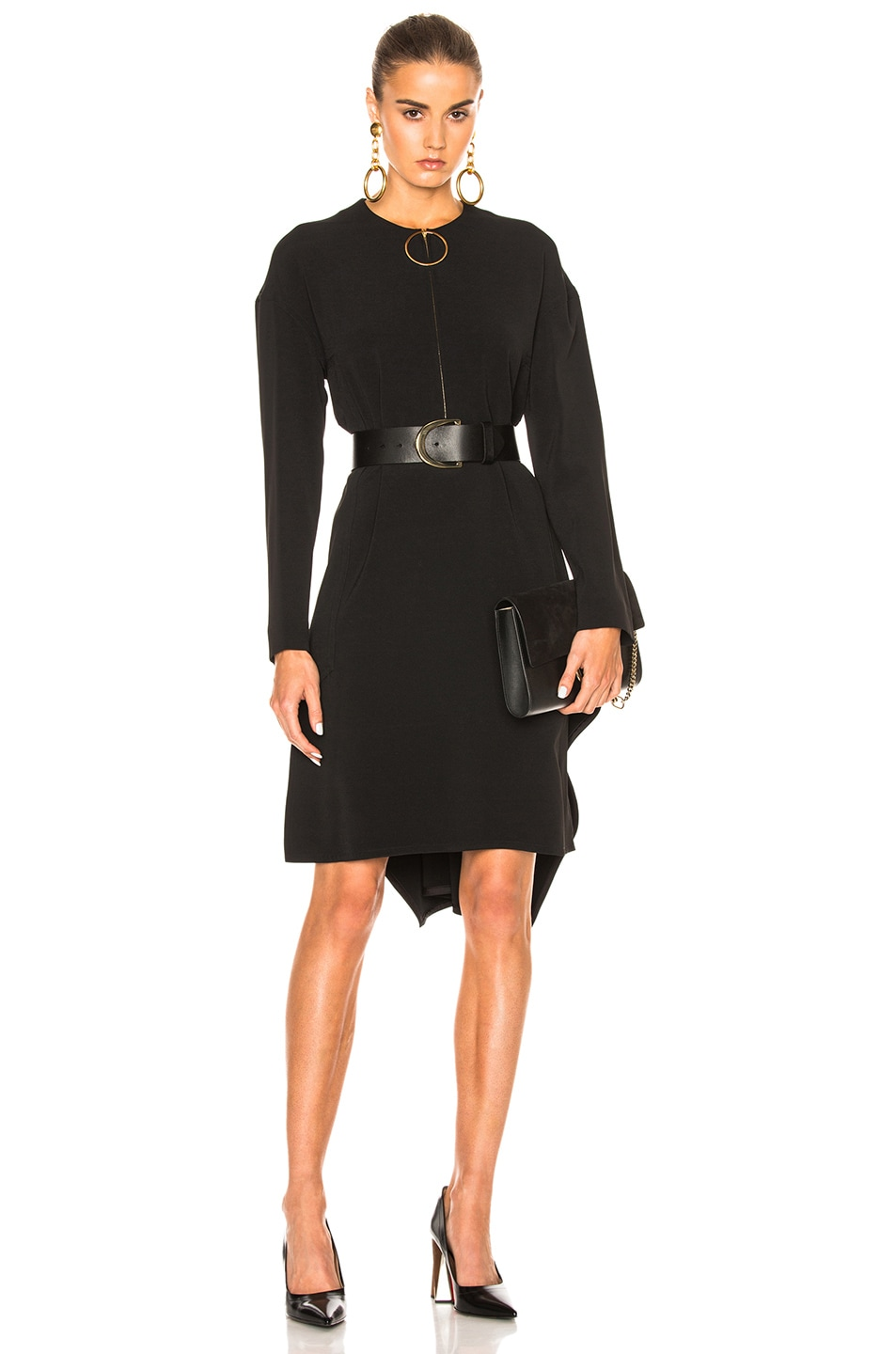 Image 1 of Marni Stretch Cady Long Sleeve Dress in Black