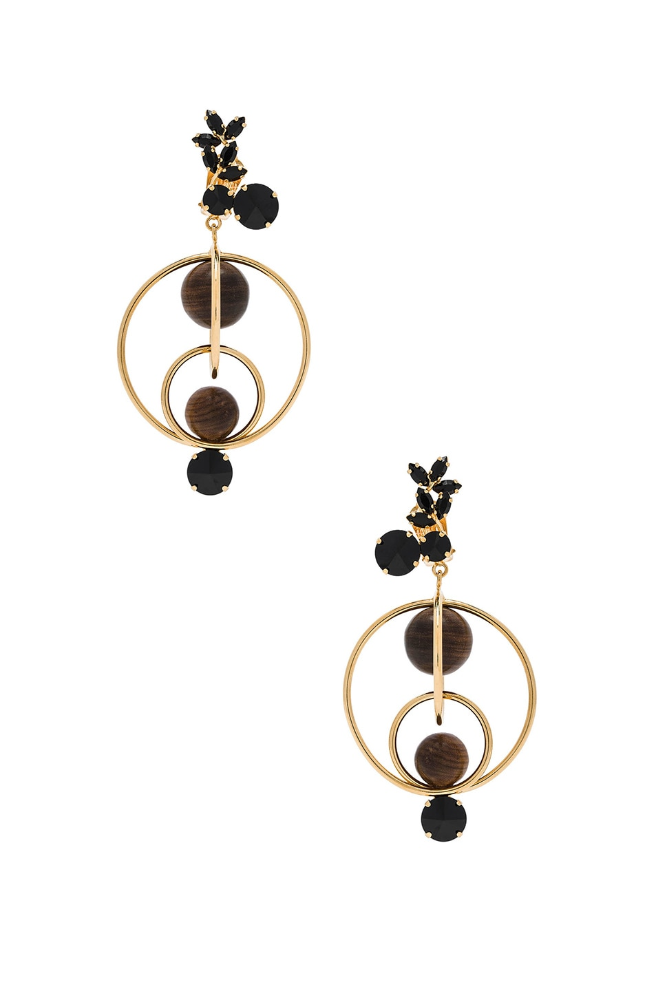 Image 1 of Marni Wood Earrings in Cocoa