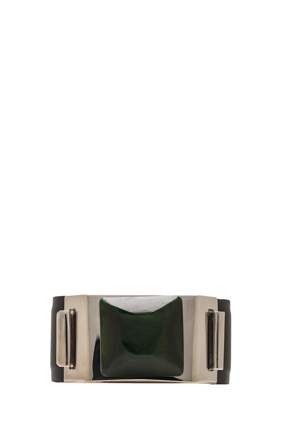 Image 1 of Marni Stone Leather Cuff in Silver & Green