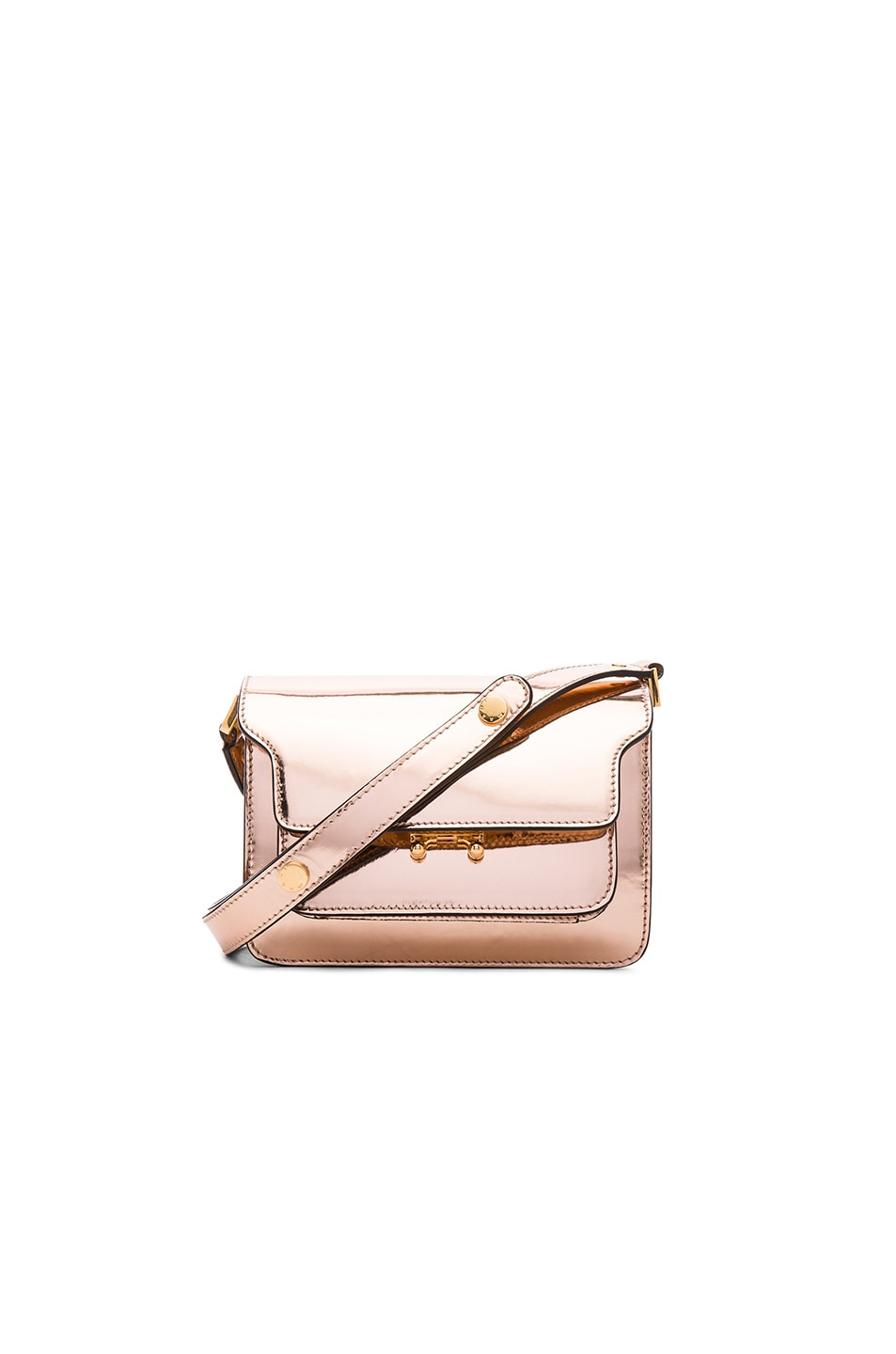 Image 1 of Marni Mini Metallic Trunk Bag in Macaroon