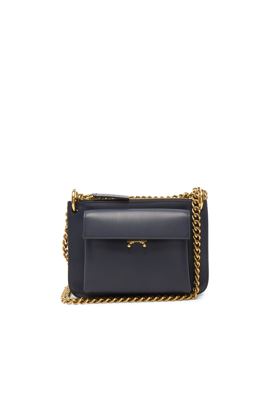 Image 1 of Marni Calf Leather Shoulder Bag in Blue China   Black 181cac1f9a9b4