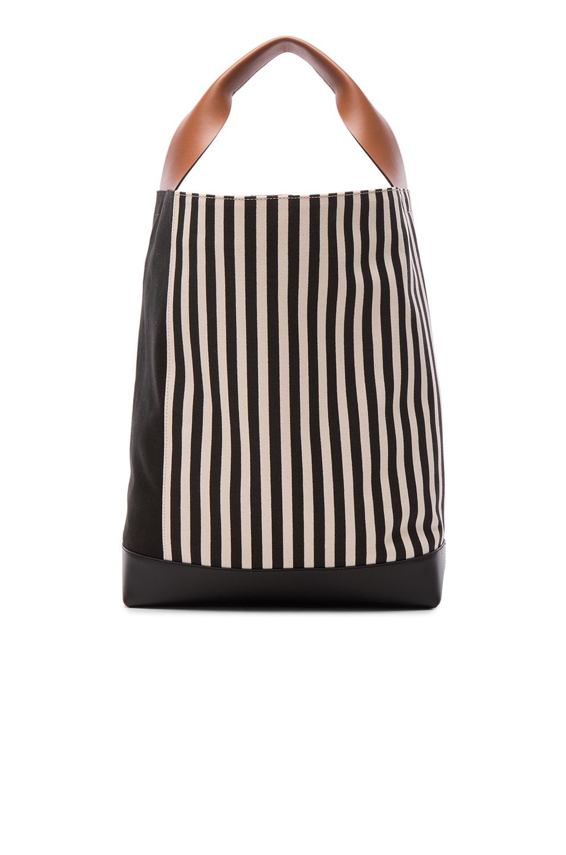 9321a10c29 Image 1 of Marni Canvas Stripe Shoulder Bag in Black   Marron