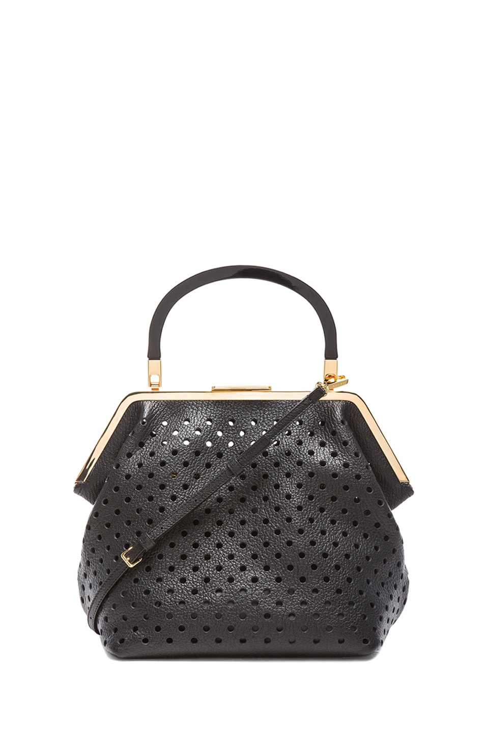 Image 1 of Marni Perforated Leather Bag in Coal