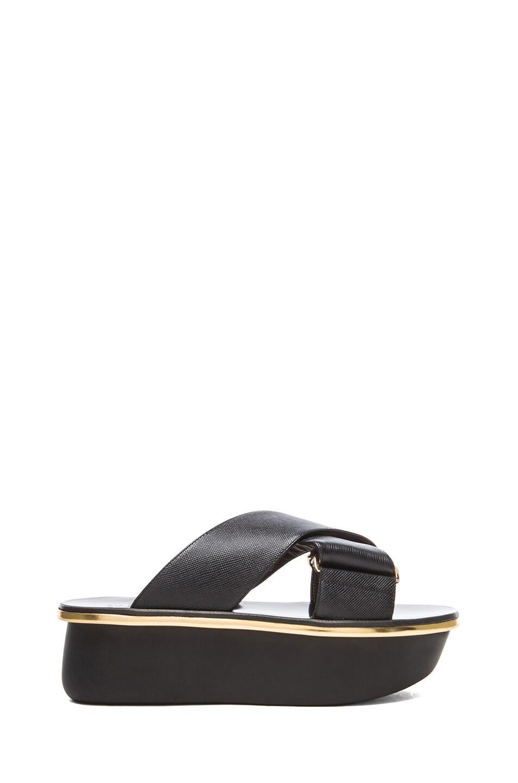 5556880242 Image 1 of Marni Saffiano Calfskin Leather Platform Wedge Sandals in Coal