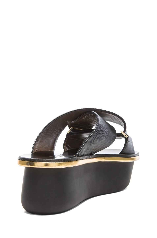 e8f6ccbf4a Image 3 of Marni Saffiano Calfskin Leather Platform Wedge Sandals in Coal