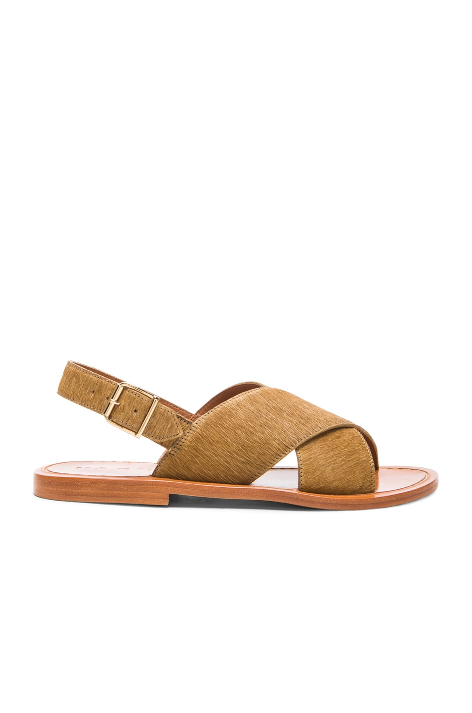 Image 1 of Marni Pony Hair Criss Cross Sandals in Soft Beige