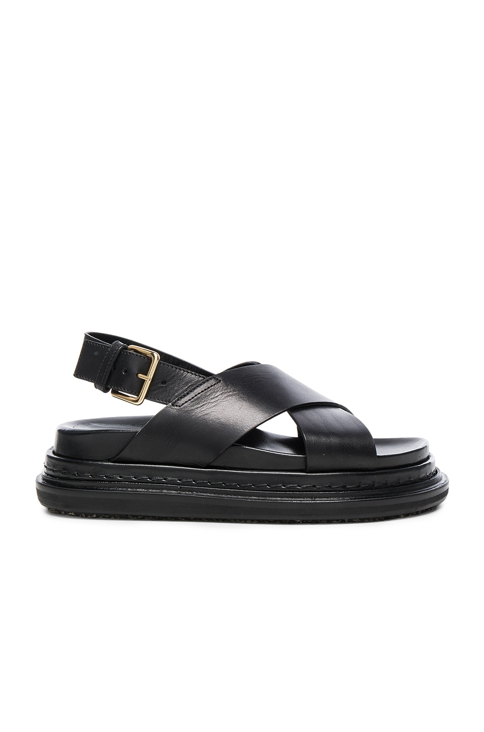 Image 1 of Marni Fussbett Leather Sandals in Coal