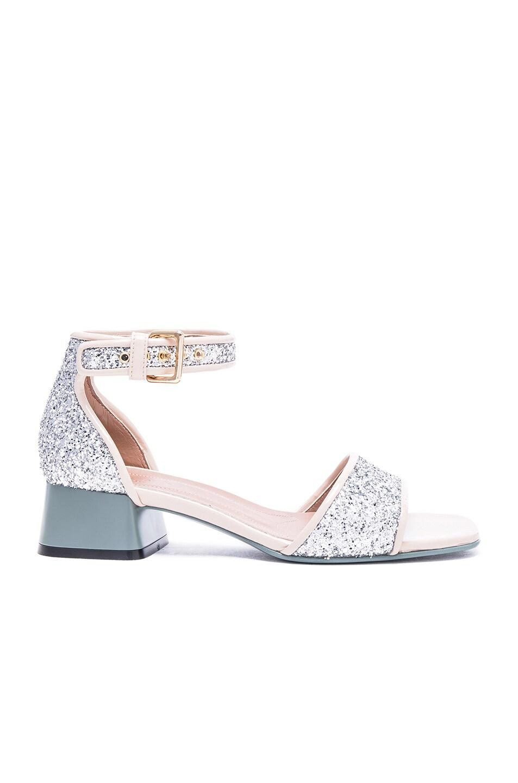 Image 1 of Marni Glitter Sandals in Silver
