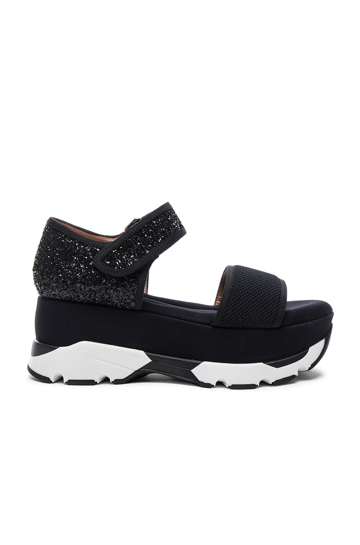 Image 1 of Marni Platform Glitter Sandals in Coal