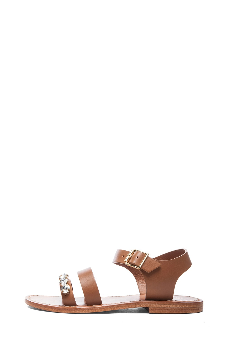 Image 1 of Marni Embellished Leather Sandals with Small Stones in Caramel