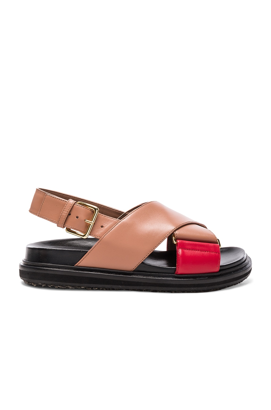 Image 1 of Marni Leather Fussbett Sandals in Cameo & Indian Red