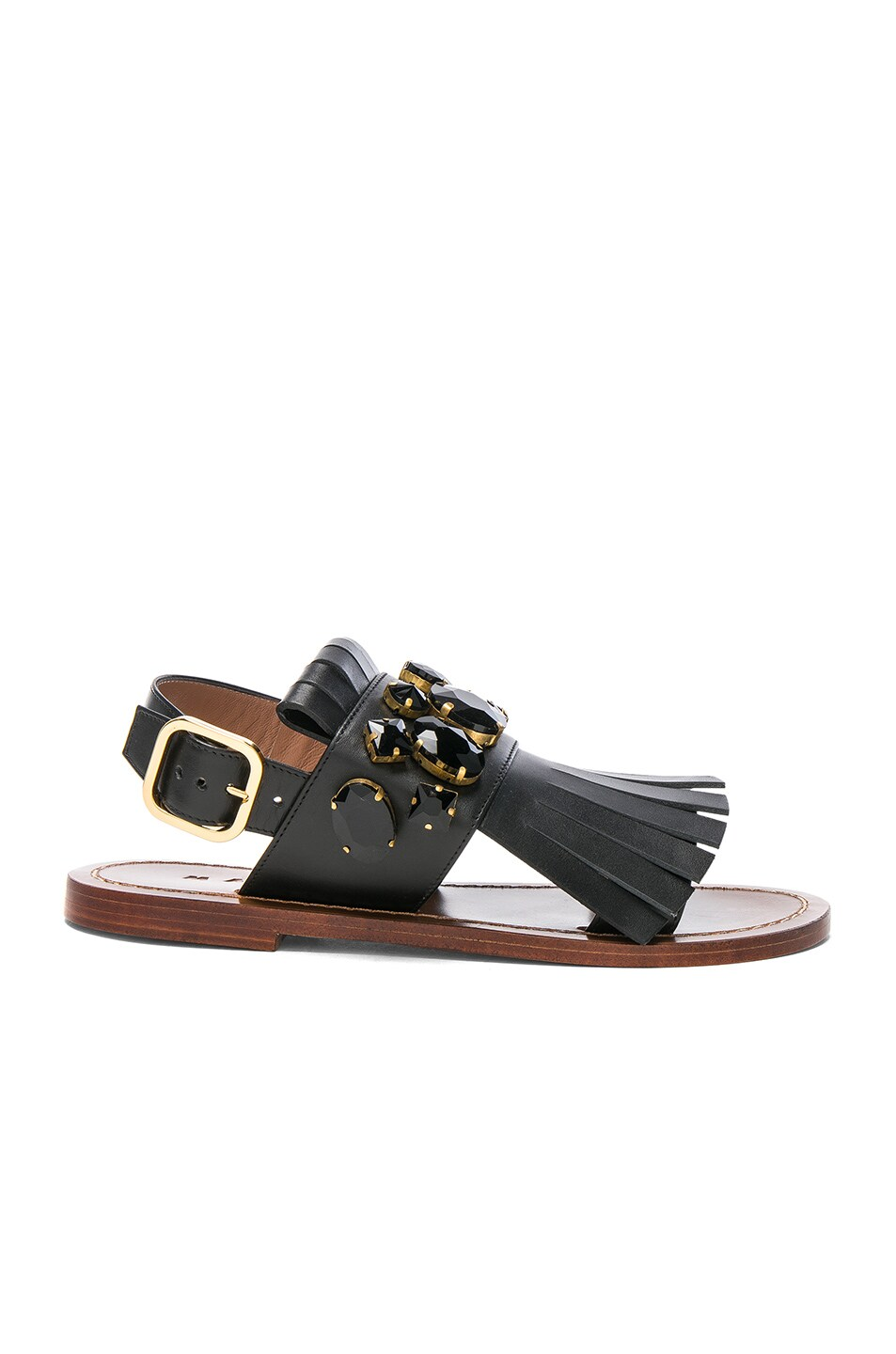 Image 1 of Marni Jewel Leather Sandals in Black