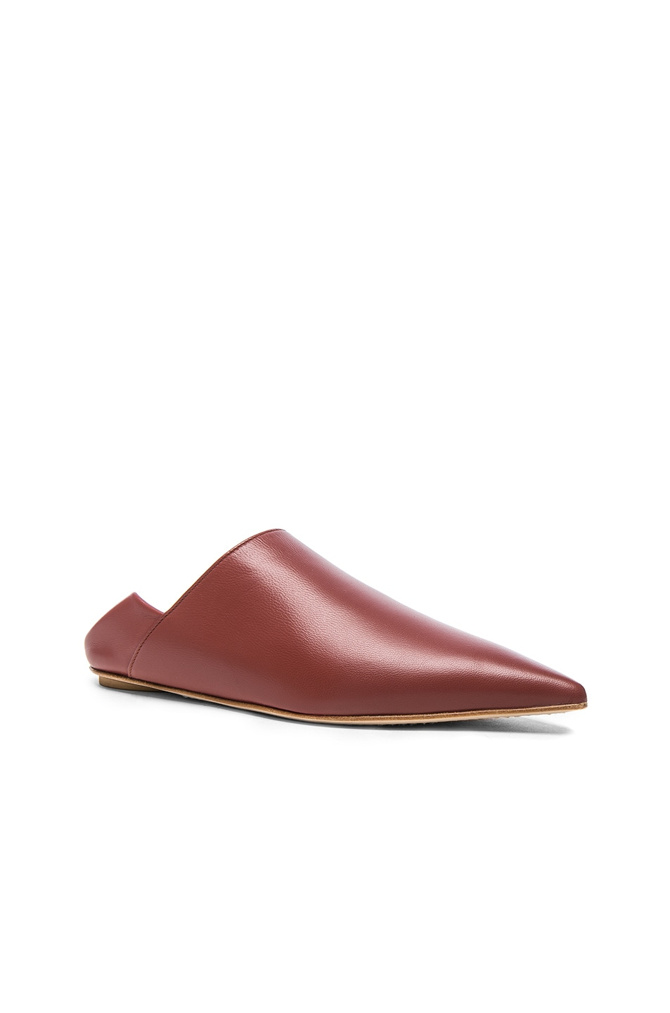 Image 2 of Marni Leather Sabot Mules in Saddle Brown
