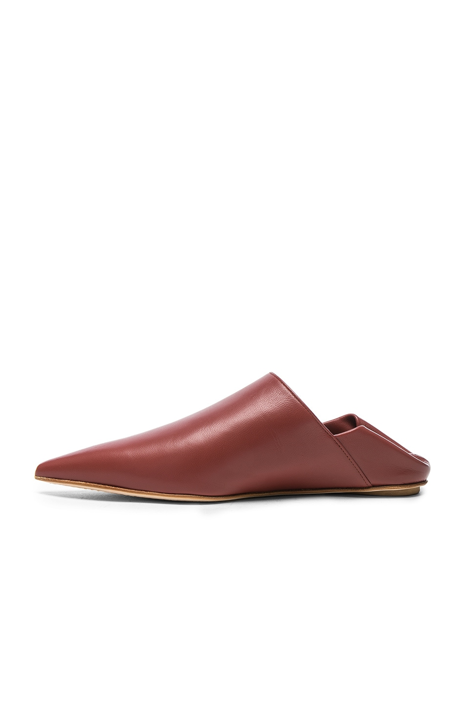 Image 5 of Marni Leather Sabot Mules in Saddle Brown