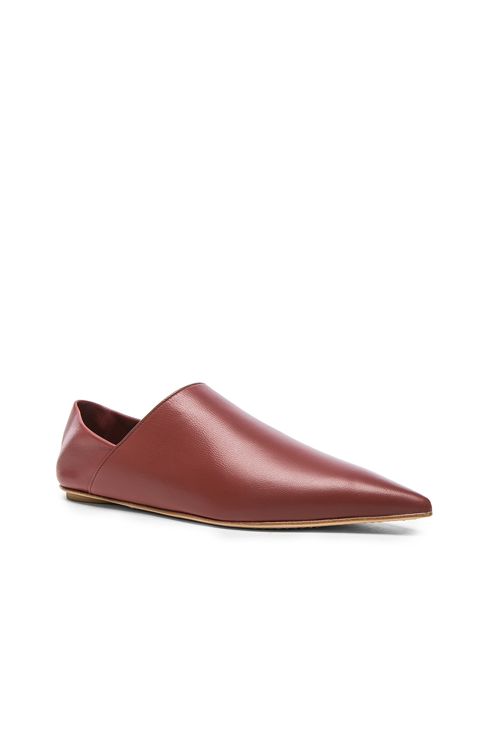 Image 6 of Marni Leather Sabot Mules in Saddle Brown