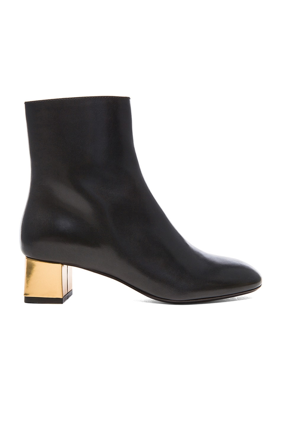 Image 1 of Marni Calfskin Leather Ankle Booties in Coal