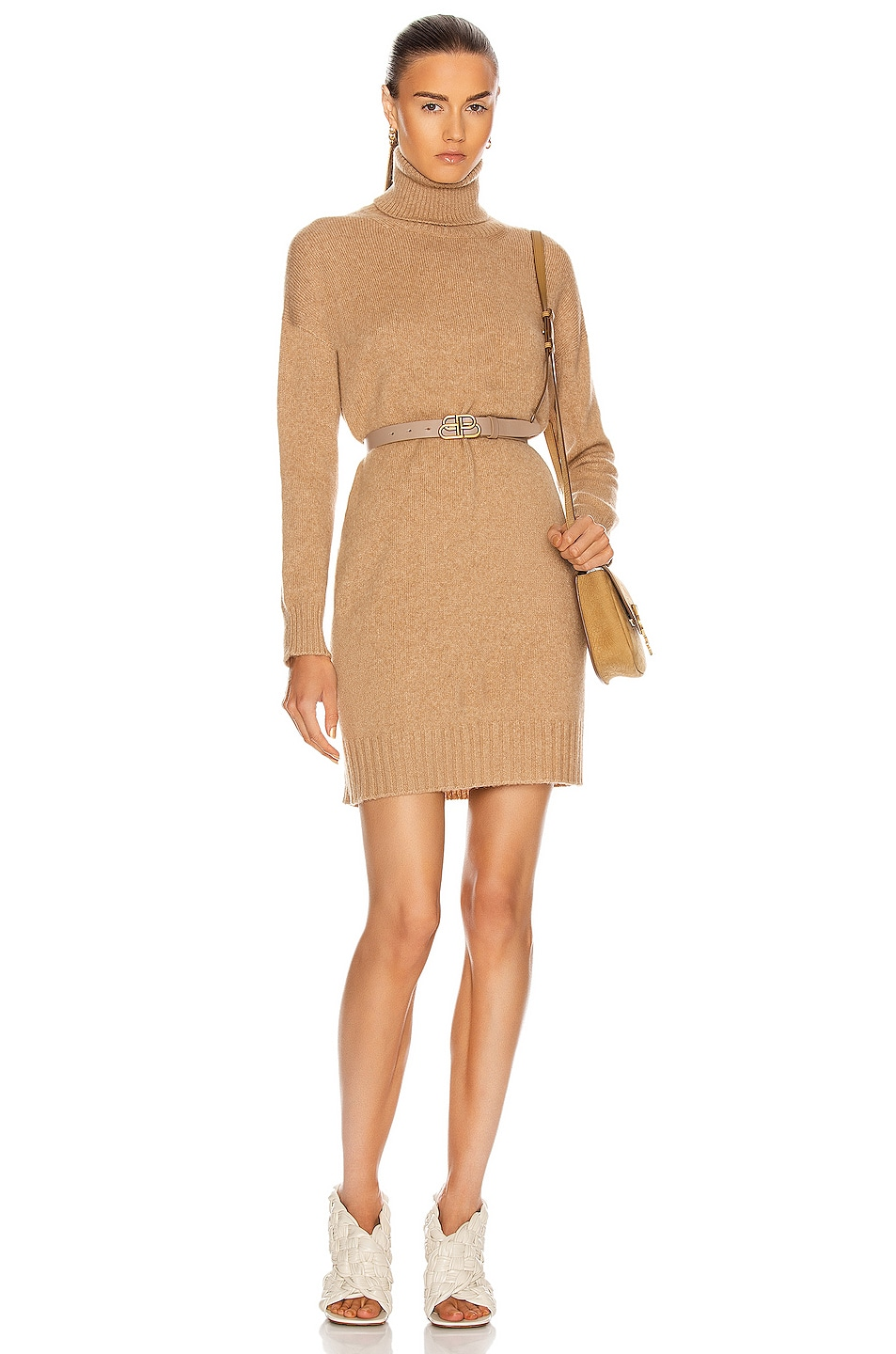Image 1 of Max Mara Green Sweater Dress in Camel