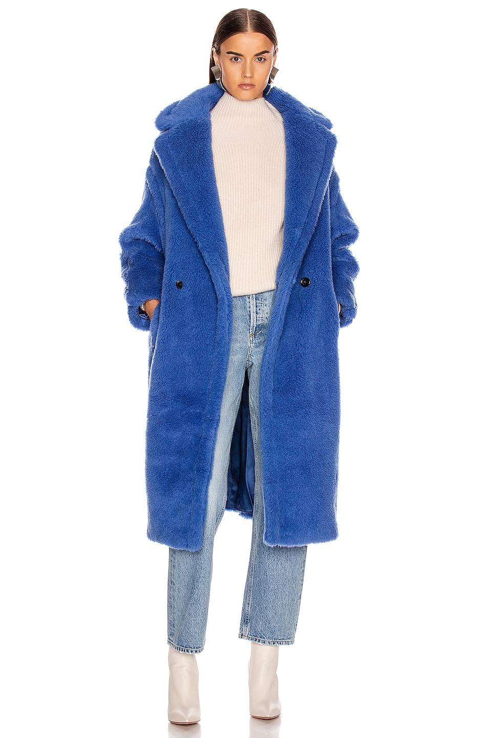 Image 1 of Max Mara Teddy Tedgirl Coat in Cornflower Blue