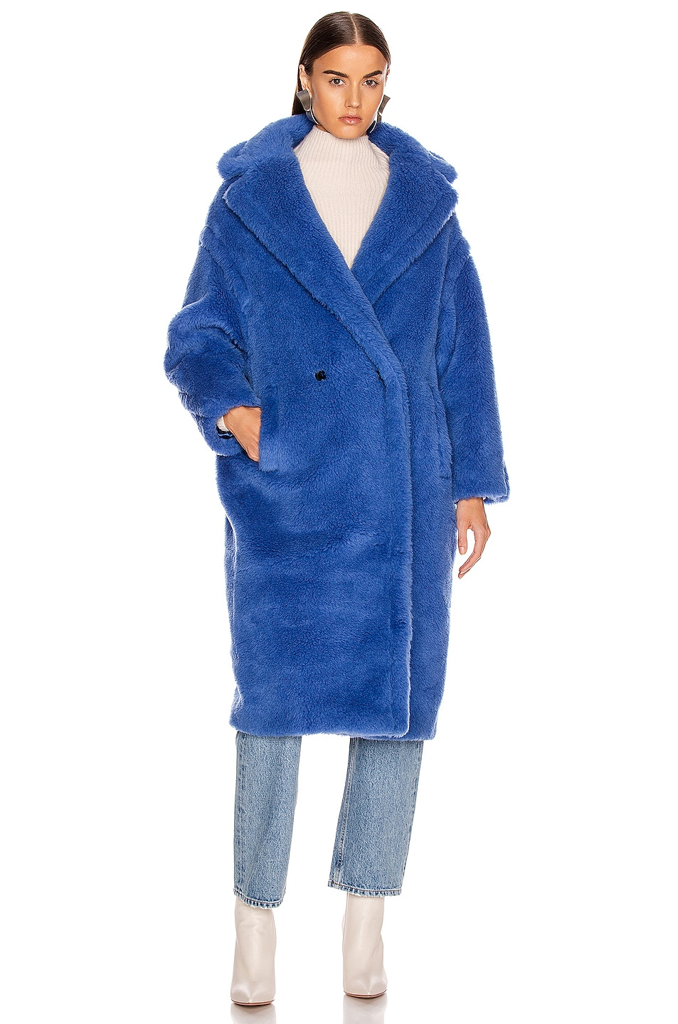 Image 2 of Max Mara Teddy Tedgirl Coat in Cornflower Blue