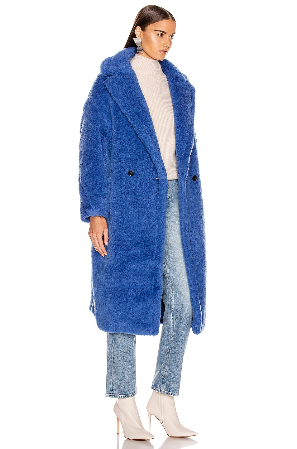 Image 3 of Max Mara Teddy Tedgirl Coat in Cornflower Blue