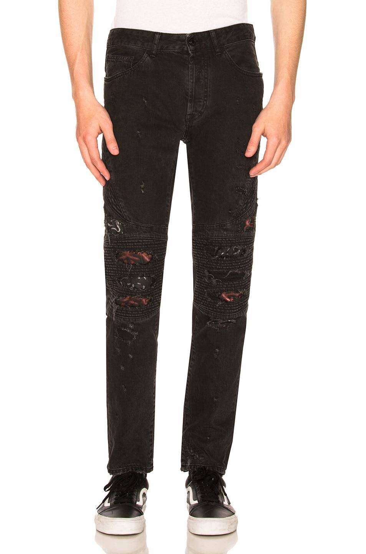 Image 1 of Marcelo Burlon Black Snake Biker Jeans in Black