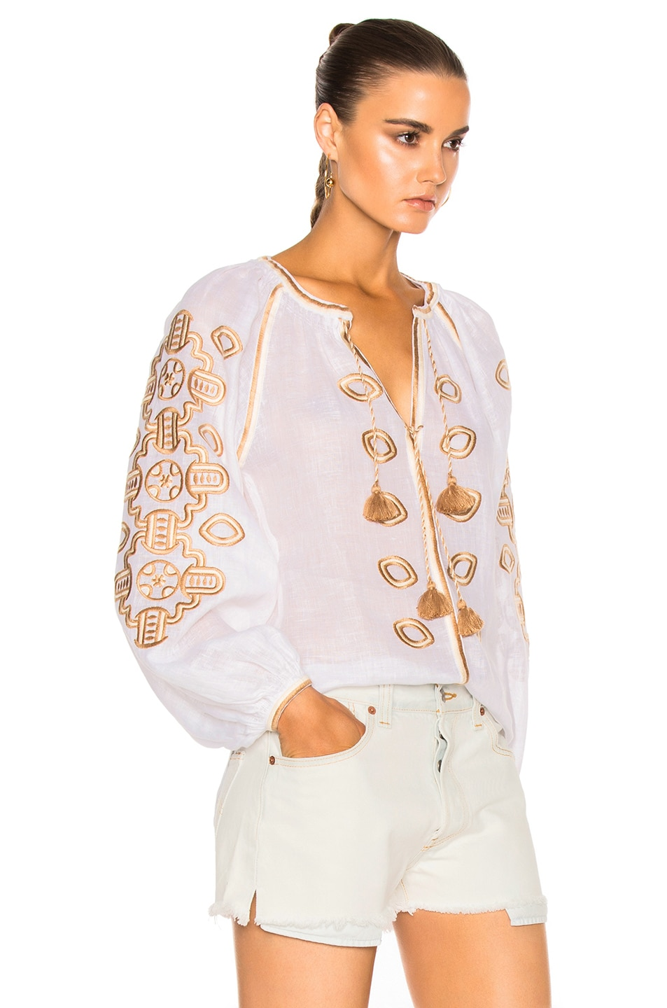 Image 3 of March 11 African Embroidered Top in Tan & White