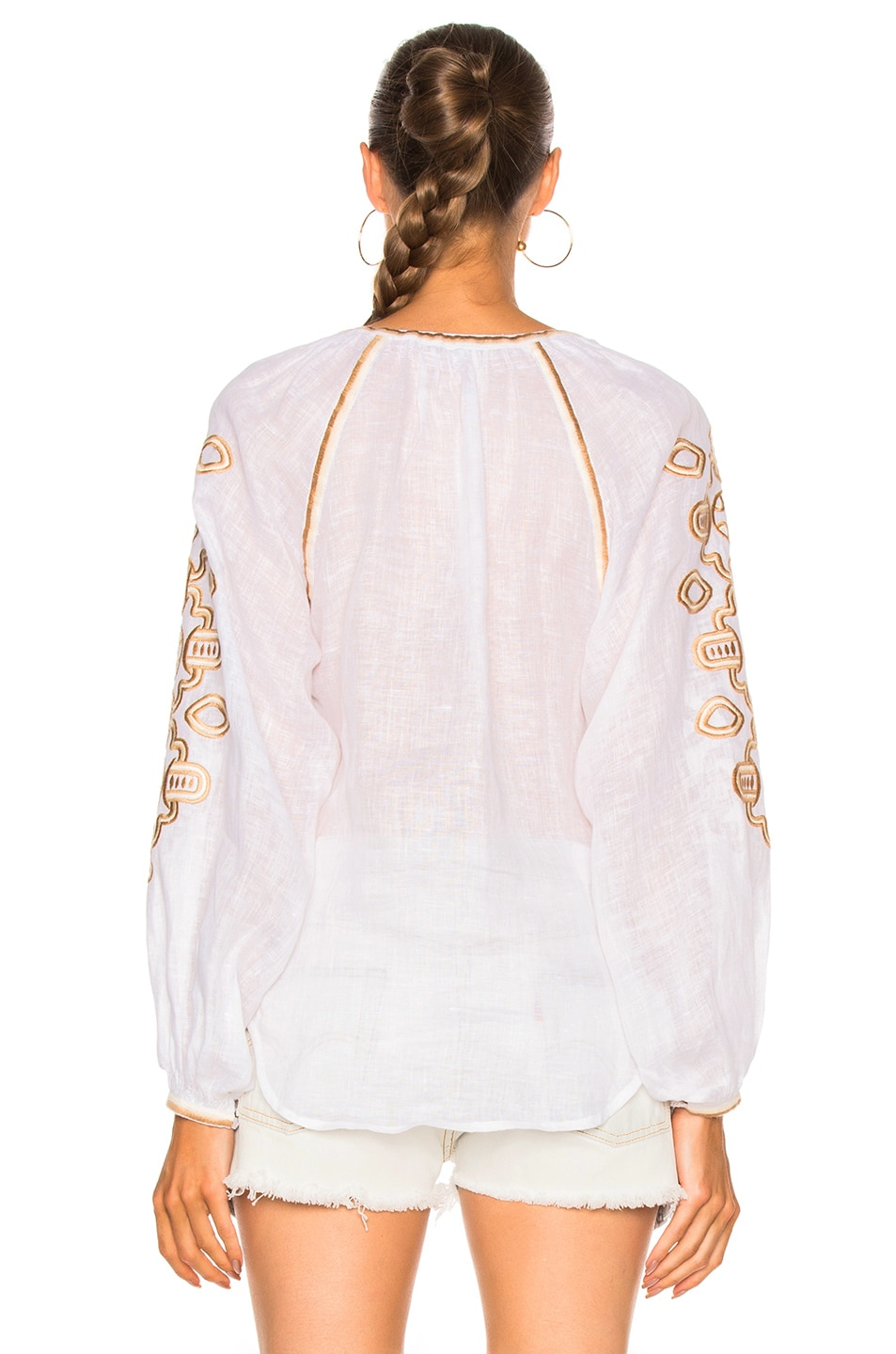 Image 4 of March 11 African Embroidered Top in Tan & White