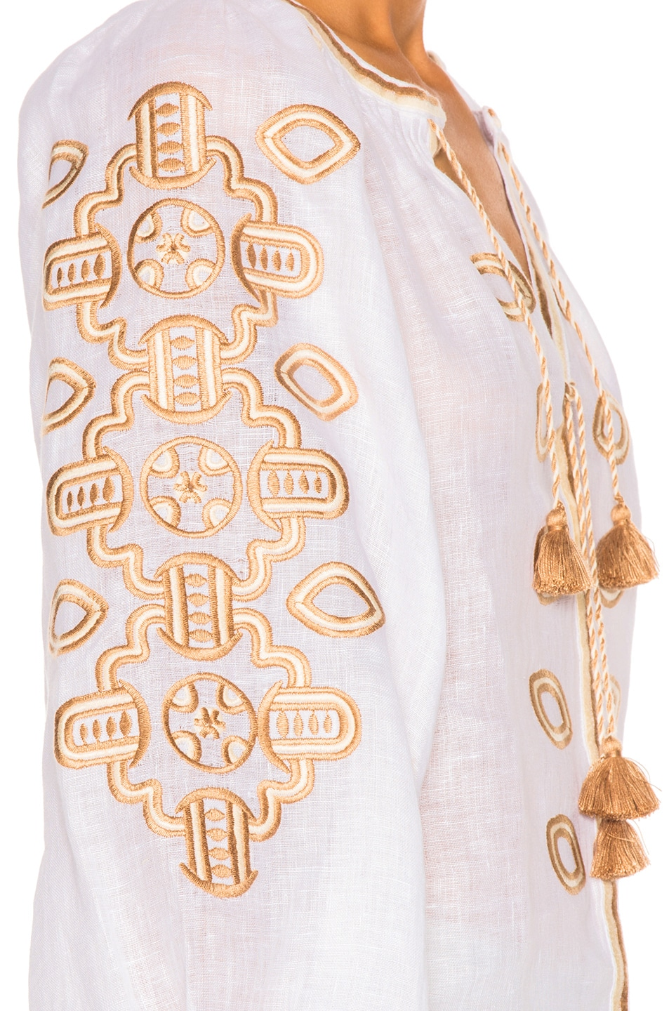 Image 6 of March 11 African Embroidered Top in Tan & White