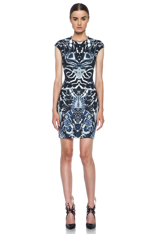Image 1 of McQ Alexander McQueen Interlock Kaleidoscope Print Dress in Indigo & Black