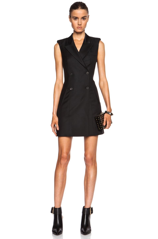 Image 1 of McQ Alexander McQueen Wool Tuxedo Dress in Black