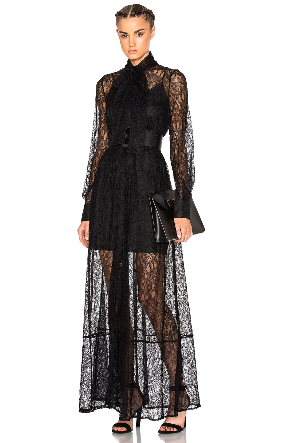 Image 1 of McQ Alexander McQueen Lace Maxi Dress in Black