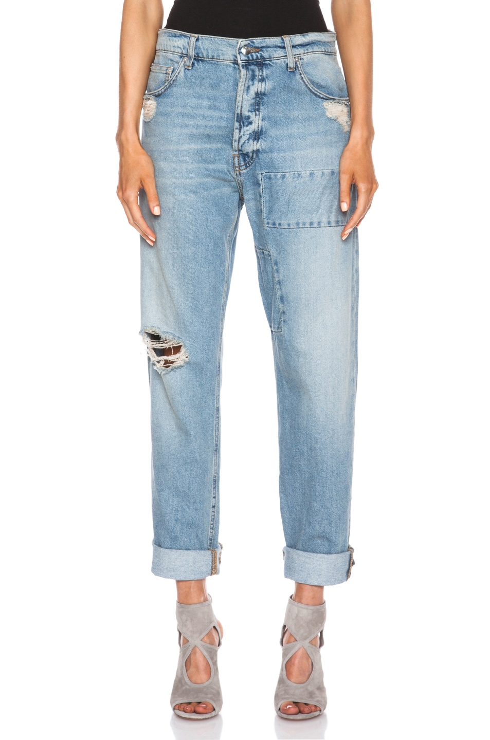 Image 1 of McQ Alexander McQueen Patched Boyfriend Jean in Distressed Indigo