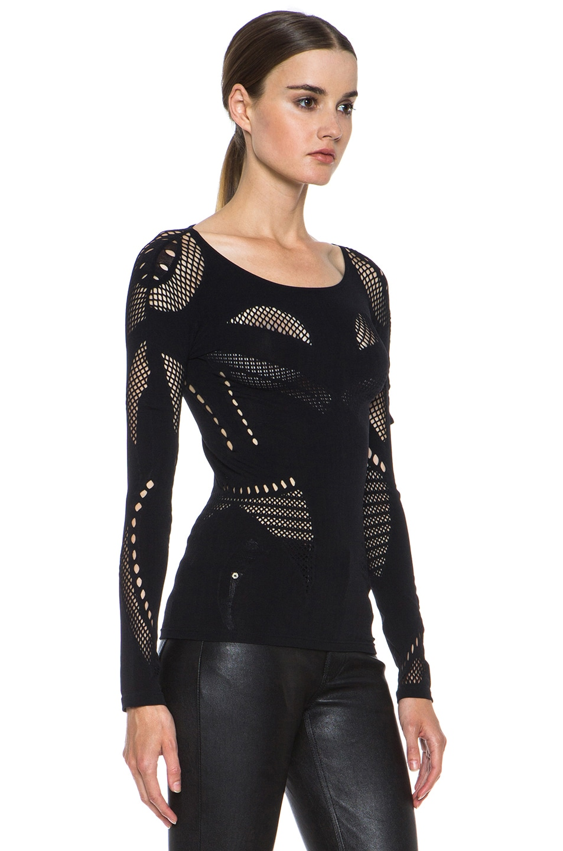Image 3 of McQ Alexander McQueen Mesh Polyamide-Blend Body Top in Black