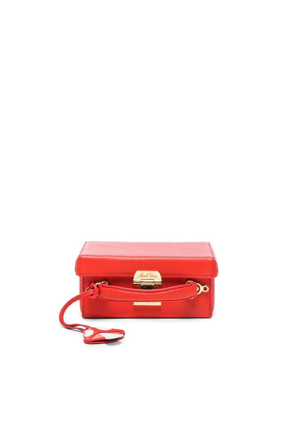 Image 1 of Mark Cross Grace Small Box Bag with Mushroom Charm in Bright Red Pebble