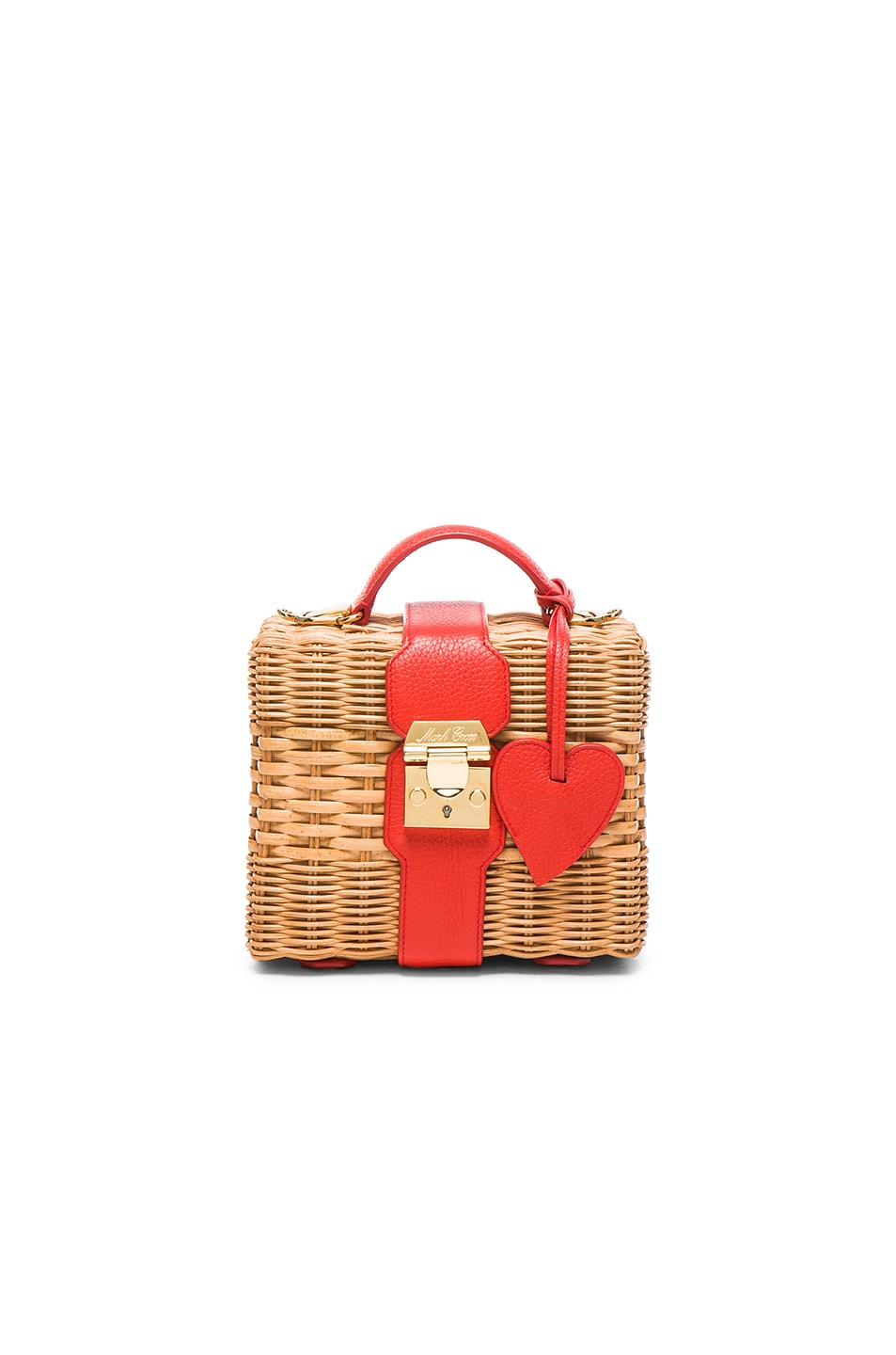 Image 1 of Mark Cross Harley Rattan Bag with Heart Charm in Bright Red Pebble