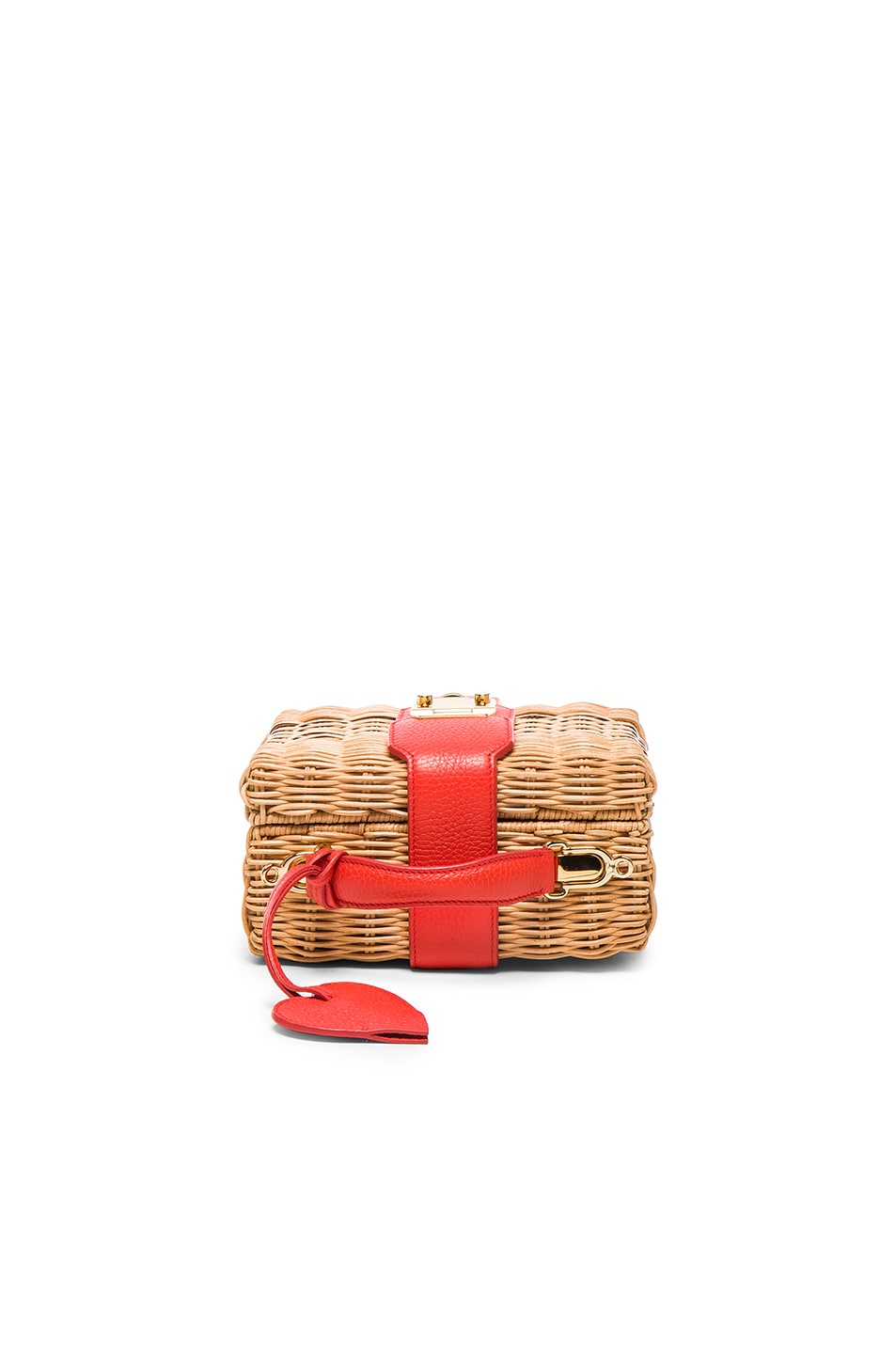 Image 2 of Mark Cross Harley Rattan Bag with Heart Charm in Bright Red Pebble