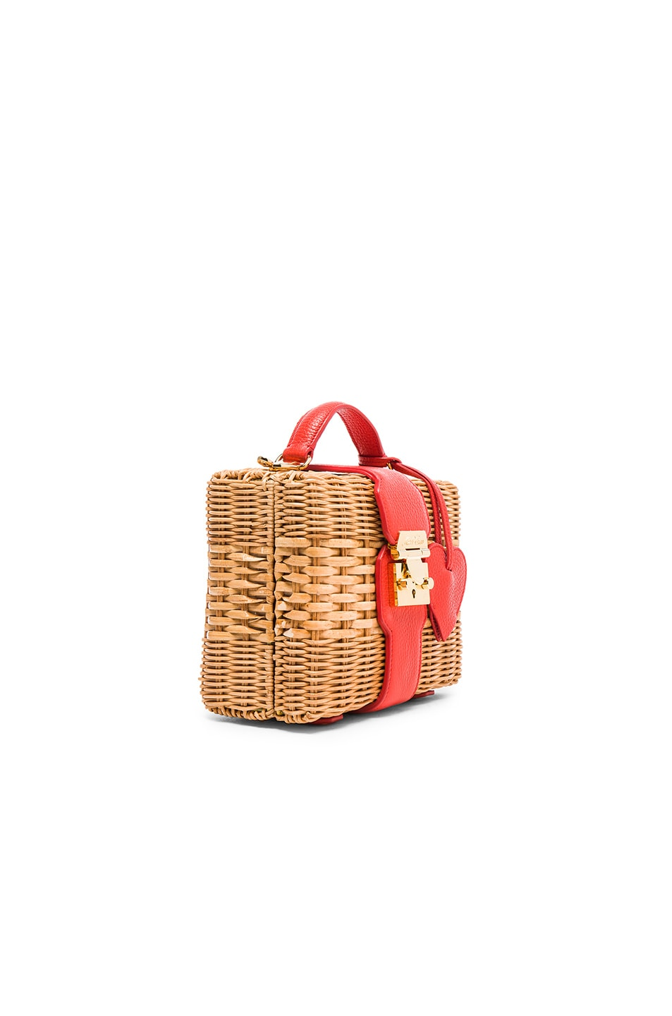 Image 4 of Mark Cross Harley Rattan Bag with Heart Charm in Bright Red Pebble
