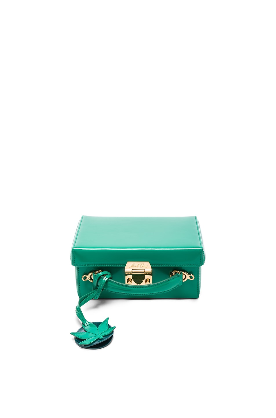 Image 1 of Mark Cross Grace Small Box Bag with Leaf Charm in Brush Off Grass Green