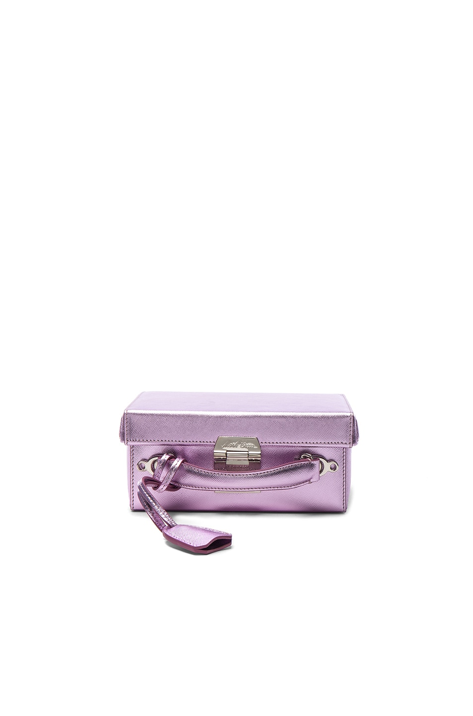 Image 1 of Mark Cross Grace Small Box Bag in Pink Lilac Metallic Saffiano
