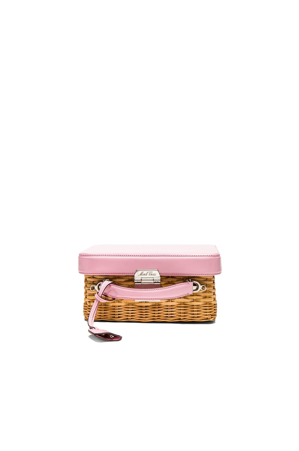 Image 1 of Mark Cross for FWRD Grace Box Rattan Bag in Pink Brushoff