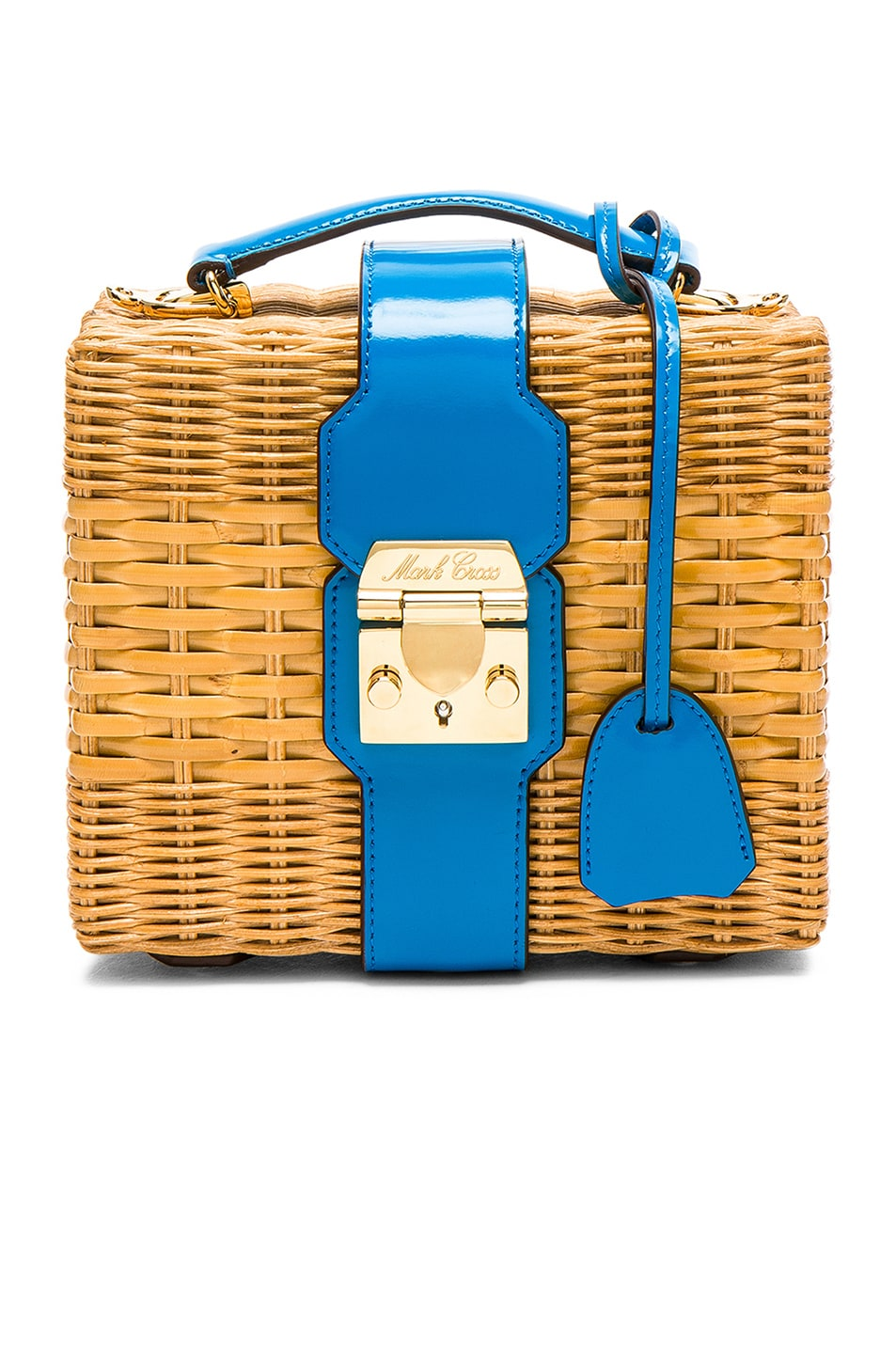 Image 1 of Mark Cross for FWRD Harley Rattan Bag in Turquoise Brushoff