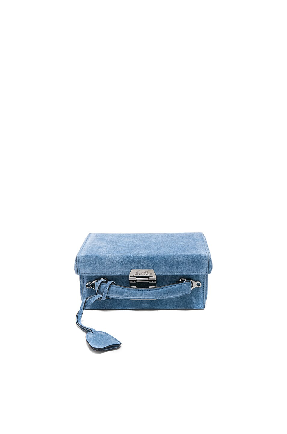 Image 1 of Mark Cross Grace Small Box Bag in Suede Bleu