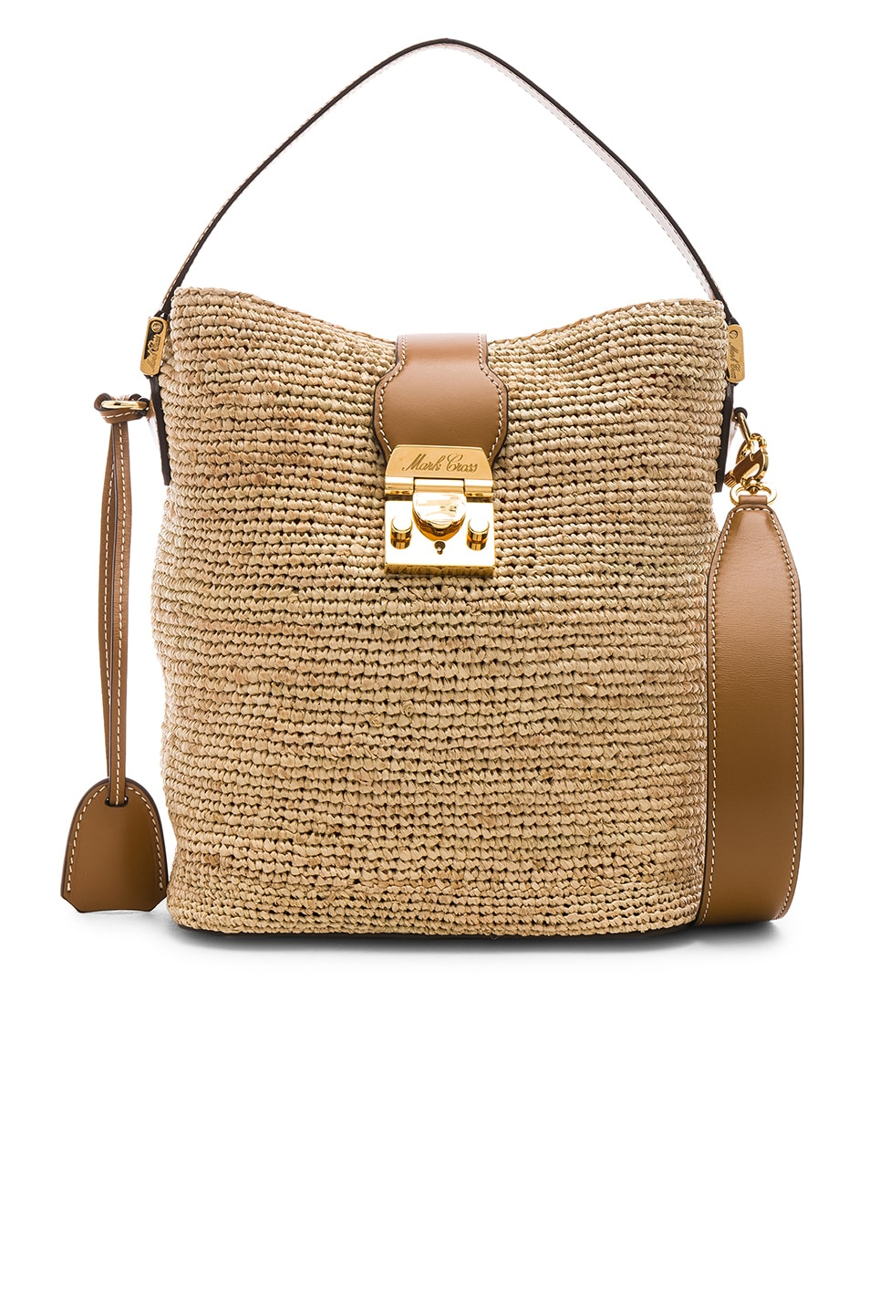 Image 1 of Mark Cross Murphy Raffia Bag in Natural & Luggage