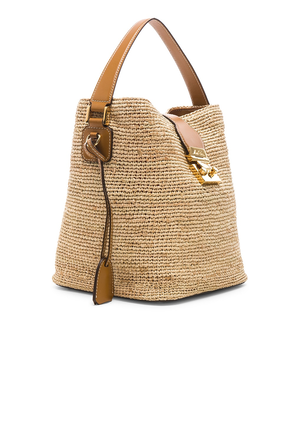 Image 4 of Mark Cross Murphy Raffia Bag in Natural & Luggage