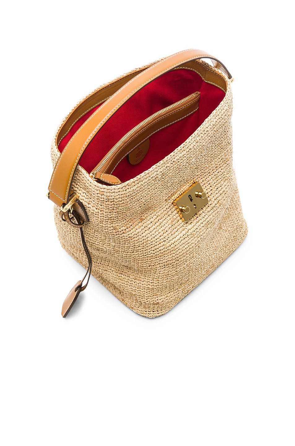 Image 5 of Mark Cross Murphy Raffia Bag in Natural & Luggage