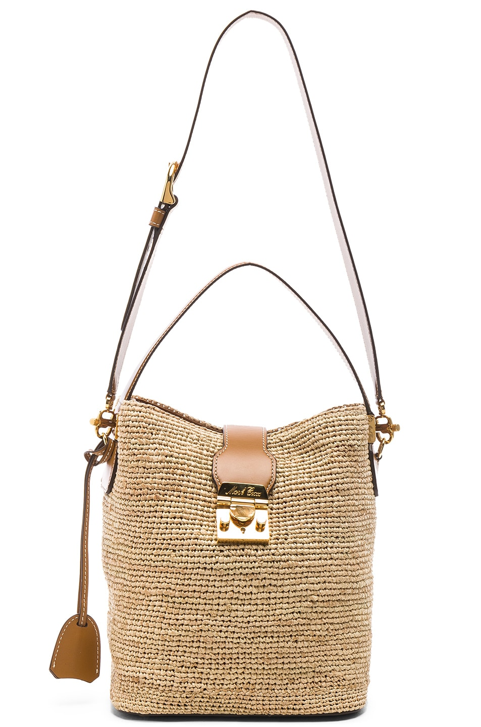 Image 6 of Mark Cross Murphy Raffia Bag in Natural & Luggage