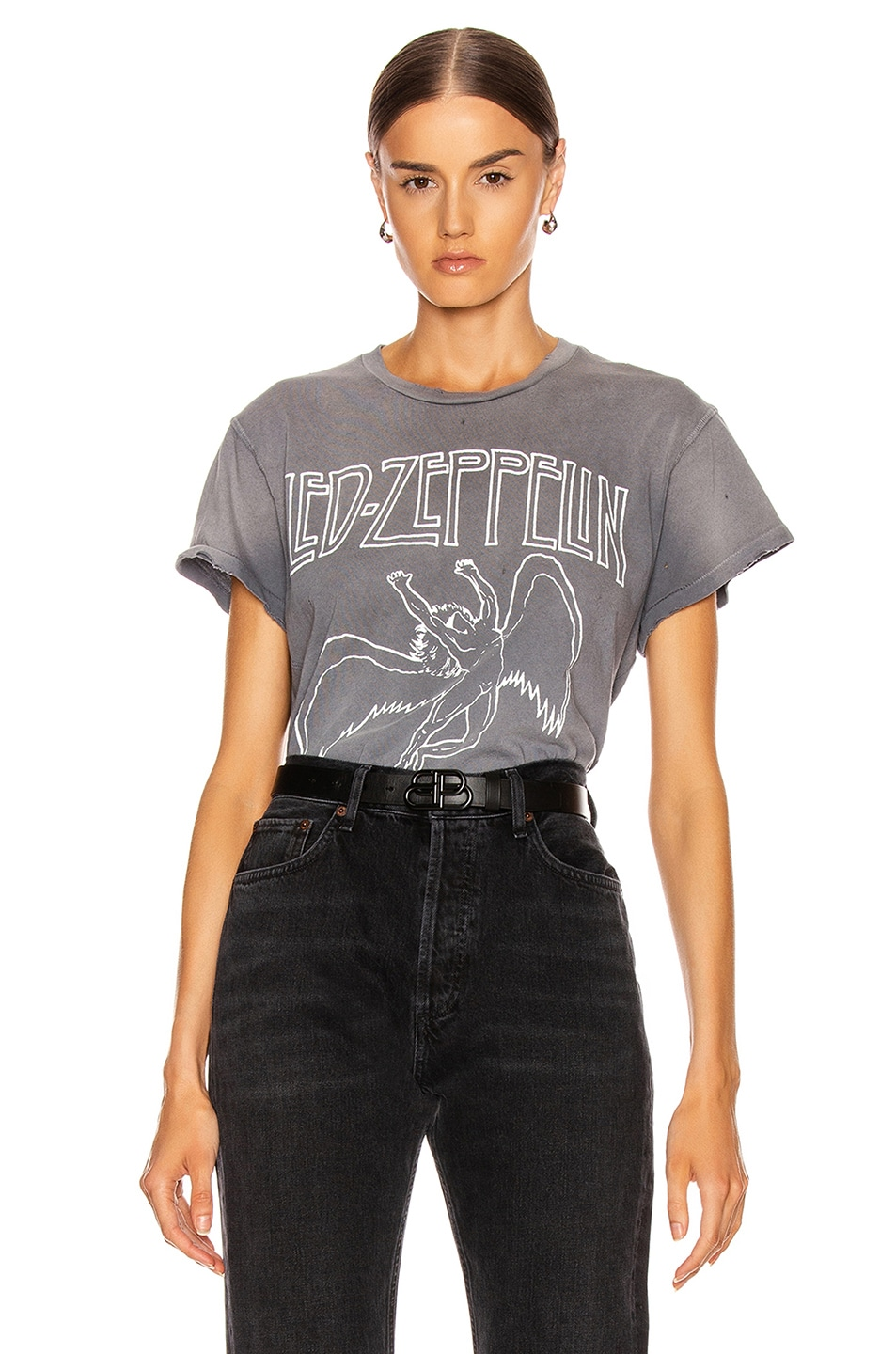 Image 1 of Madeworn Led Zeppelin United States Of America '77 Crew Tee in Charcoal