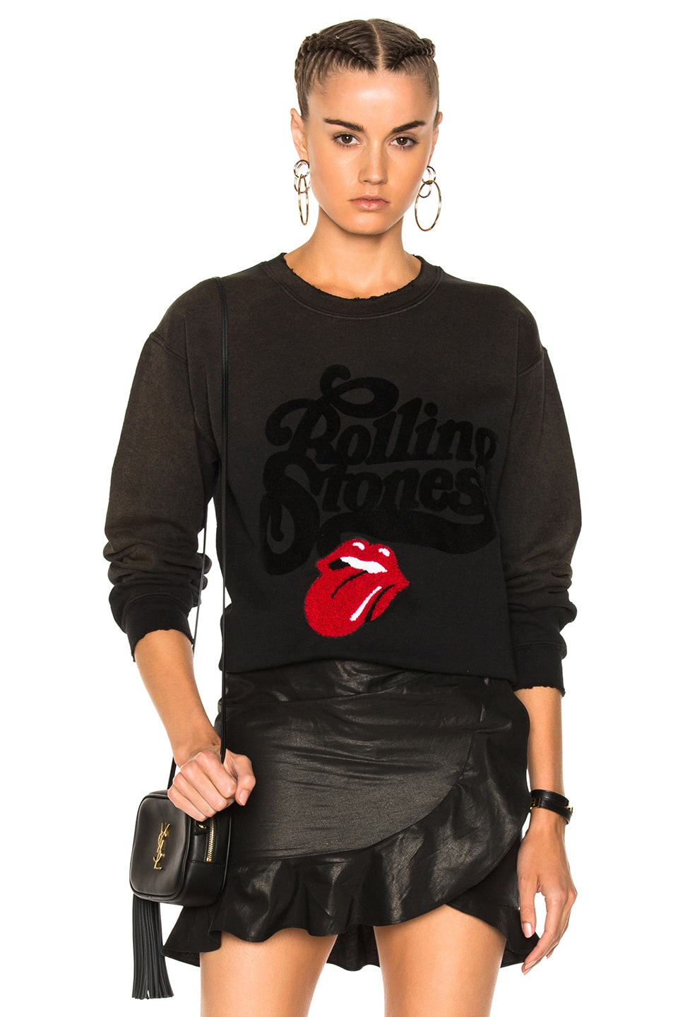 Image 1 of Madeworn Rolling Stones Chenille Patch Sweatshirt in Washed Black