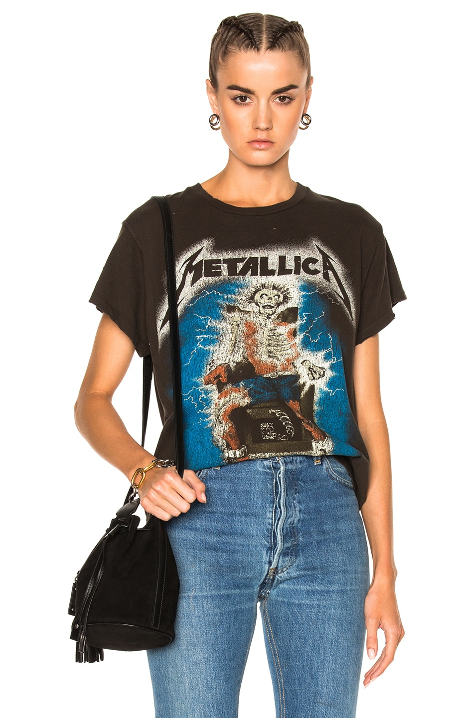 Image 1 of Madeworn Metallica Ride The Lightning Tee in Dirty Black